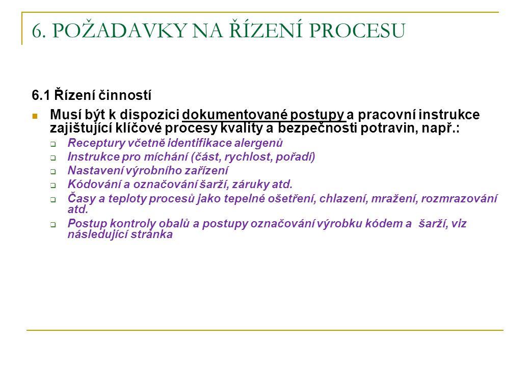 6. POŽADAVKY NA ŘÍZENÍ PROCESU 6.1 Řízení činností Musí být k dispozici dokumentované postupy a pracovní instrukce zajištující klíčové procesy kvality