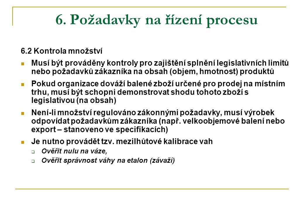 6. Požadavky na řízení procesu 6.2 Kontrola množství Musí být prováděny kontroly pro zajištění splnění legislativních limitů nebo požadavků zákazníka