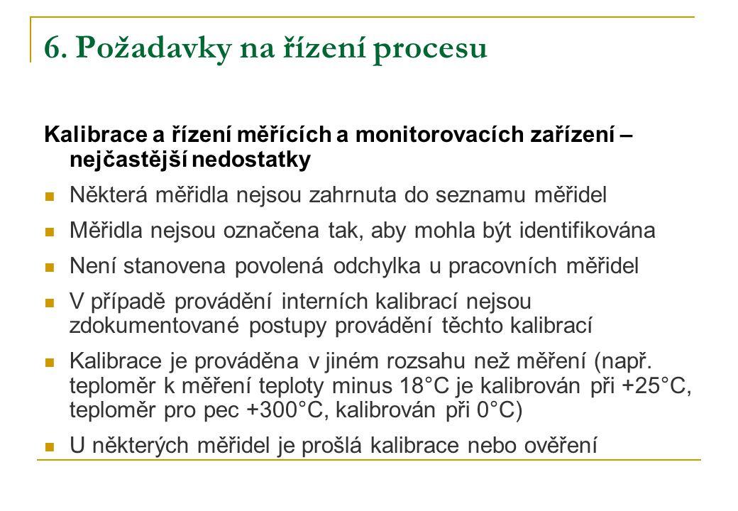 6. Požadavky na řízení procesu Kalibrace a řízení měřících a monitorovacích zařízení – nejčastější nedostatky Některá měřidla nejsou zahrnuta do sezna