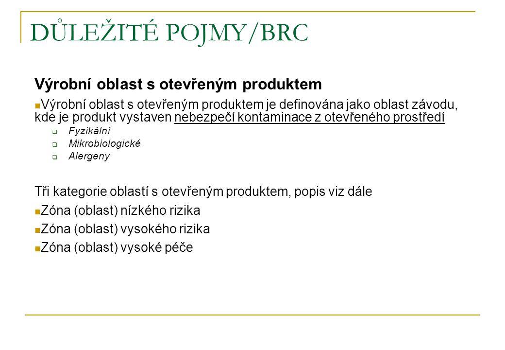 DŮLEŽITÉ POJMY/BRC Výrobní oblast s otevřeným produktem Výrobní oblast s otevřeným produktem je definována jako oblast závodu, kde je produkt vystaven