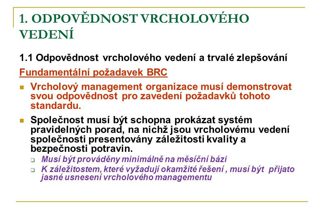 1. ODPOVĚDNOST VRCHOLOVÉHO VEDENÍ 1.1 Odpovědnost vrcholového vedení a trvalé zlepšování Fundamentální požadavek BRC Vrcholový management organizace m