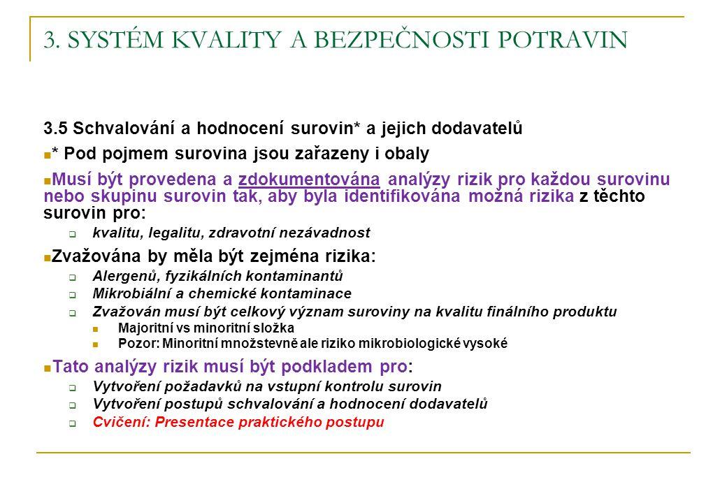 3. SYSTÉM KVALITY A BEZPEČNOSTI POTRAVIN 3.5 Schvalování a hodnocení surovin* a jejich dodavatelů * Pod pojmem surovina jsou zařazeny i obaly Musí být