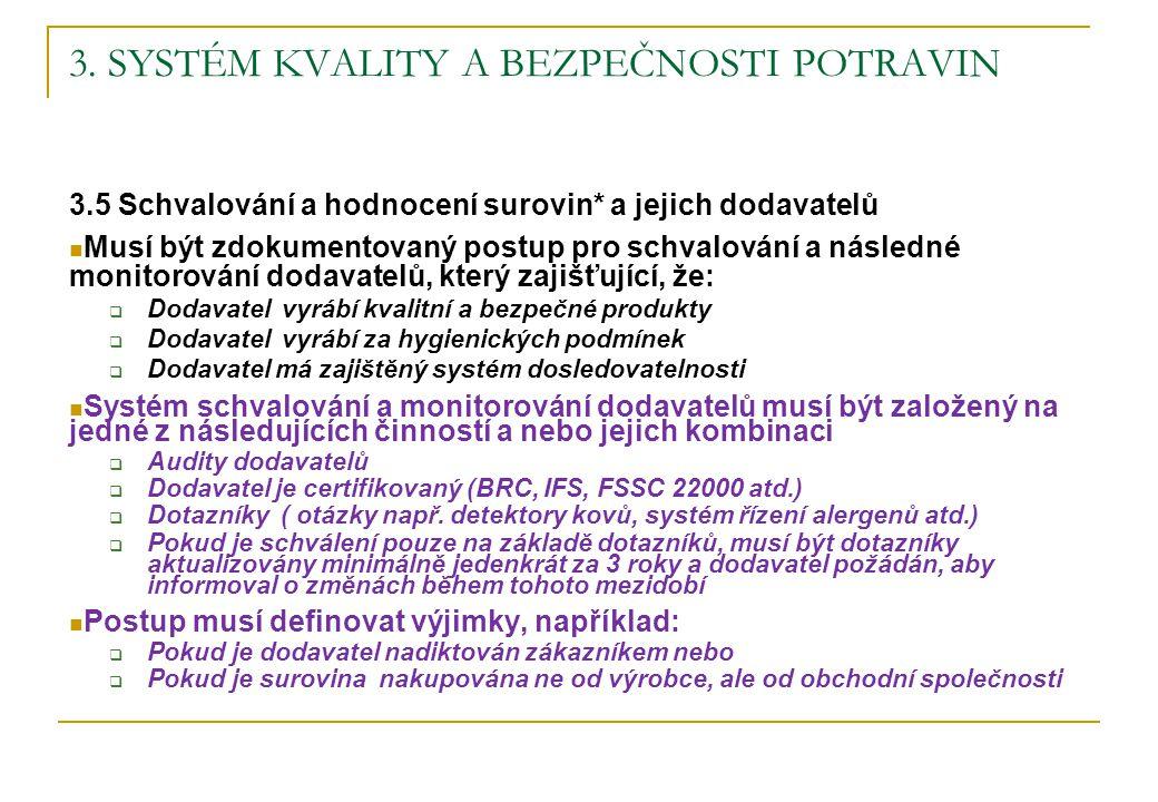 3. SYSTÉM KVALITY A BEZPEČNOSTI POTRAVIN 3.5 Schvalování a hodnocení surovin* a jejich dodavatelů Musí být zdokumentovaný postup pro schvalování a nás