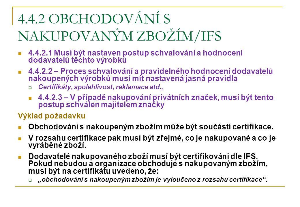 4.4.2 OBCHODOVÁNÍ S NAKUPOVANÝM ZBOŽÍM/IFS 4.4.2.1 Musí být nastaven postup schvalování a hodnocení dodavatelů těchto výrobků 4.4.2.2 – Proces schvalo