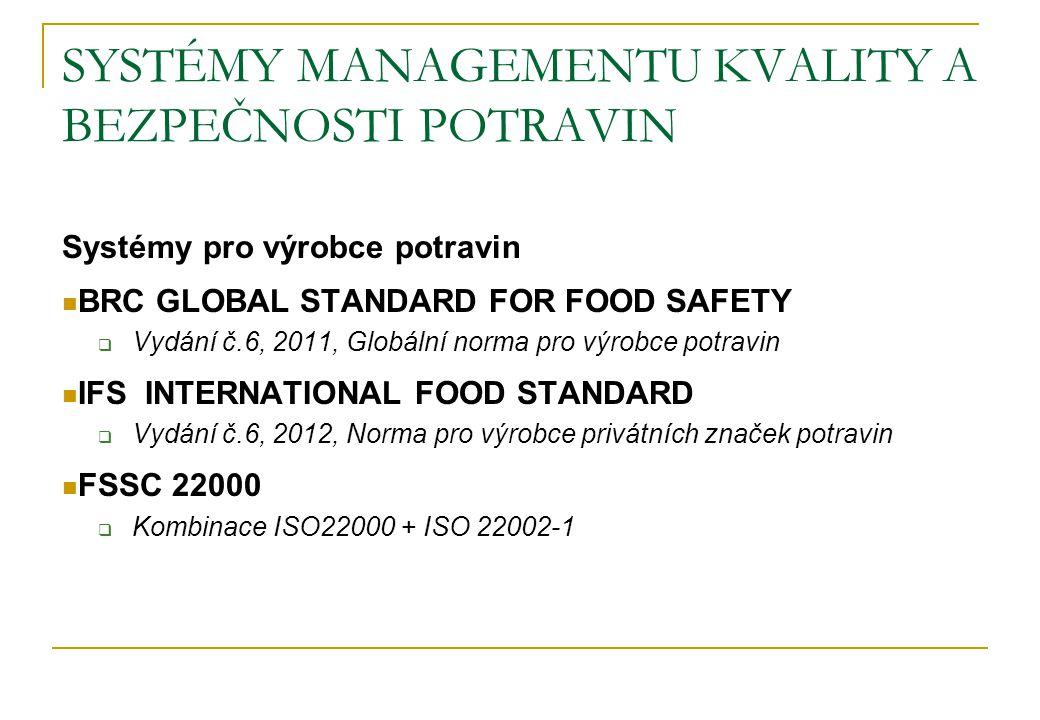 SYSTÉMY MANAGEMENTU KVALITY A BEZPEČNOSTI POTRAVIN Systémy pro výrobce obalů, logistické firmy, zemědělský sektor BRC GLOBAL STANDARD STORAGE AND DISTRIBUTION  Vydání č.2, září 2010, Norma pro skladování a distribuci IFS LOGISTIC STANDARD,  Vydání č.1, červen 2006, Norma pro skladování a distribuci BRC/IoP GLOBAL STANDARD FOOD PACKAGING  Vydání č.4, únor 2011, Norma pro výrobu obalů pro potraviny a jiné materiály GLOBALGAP Integrated Farm Assurance  Standard pro chovatele zvířat a pro pěstitele ovoce a zeleniny  Verze 3.0, březen 2007