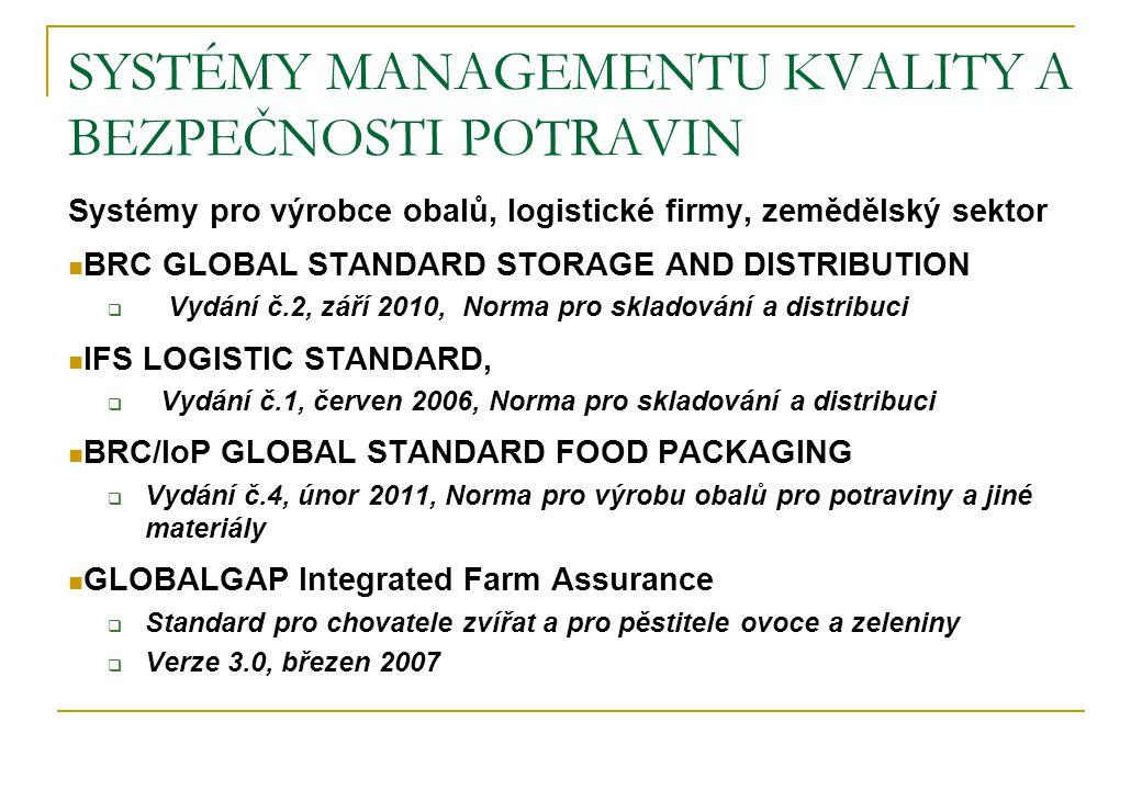 SYSTÉMY MANAGEMENTU KVALITY A BEZPEČNOSTI POTRAVIN Systémy pro výrobce obalů, logistické firmy, zemědělský sektor BRC GLOBAL STANDARD STORAGE AND DIST