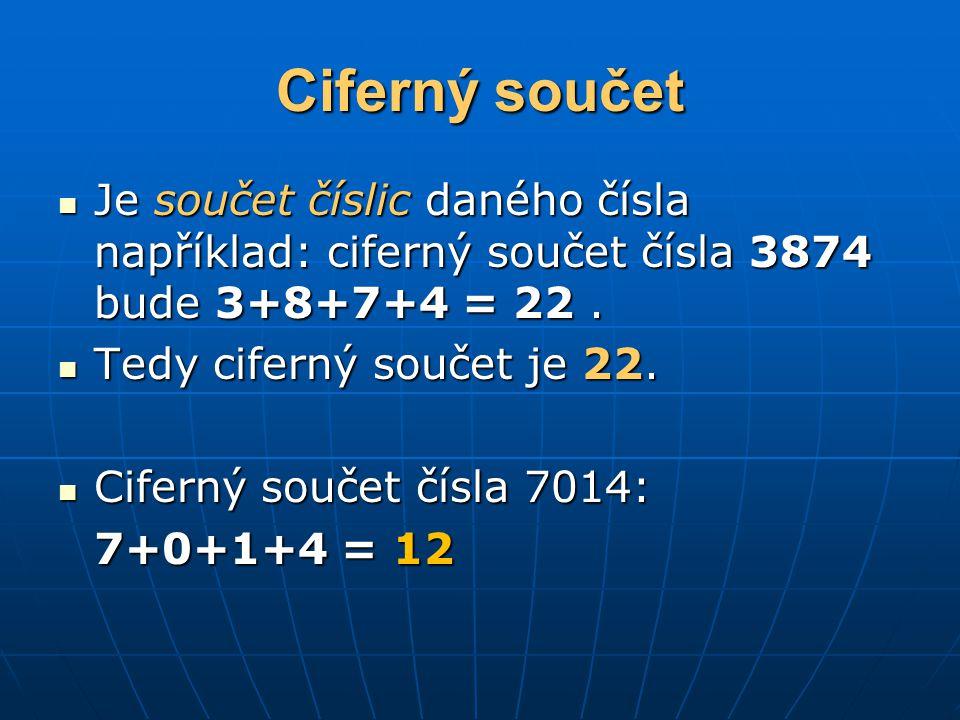 Ciferný součet Je součet číslic daného čísla například: ciferný součet čísla 3874 bude 3+8+7+4 = 22. Je součet číslic daného čísla například: ciferný