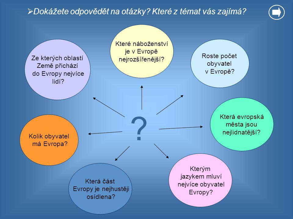  Dokážete odpovědět na otázky? Které z témat vás zajímá? Kolik obyvatel má Evropa? ? Roste počet obyvatel v Evropě? Které náboženství je v Evropě nej