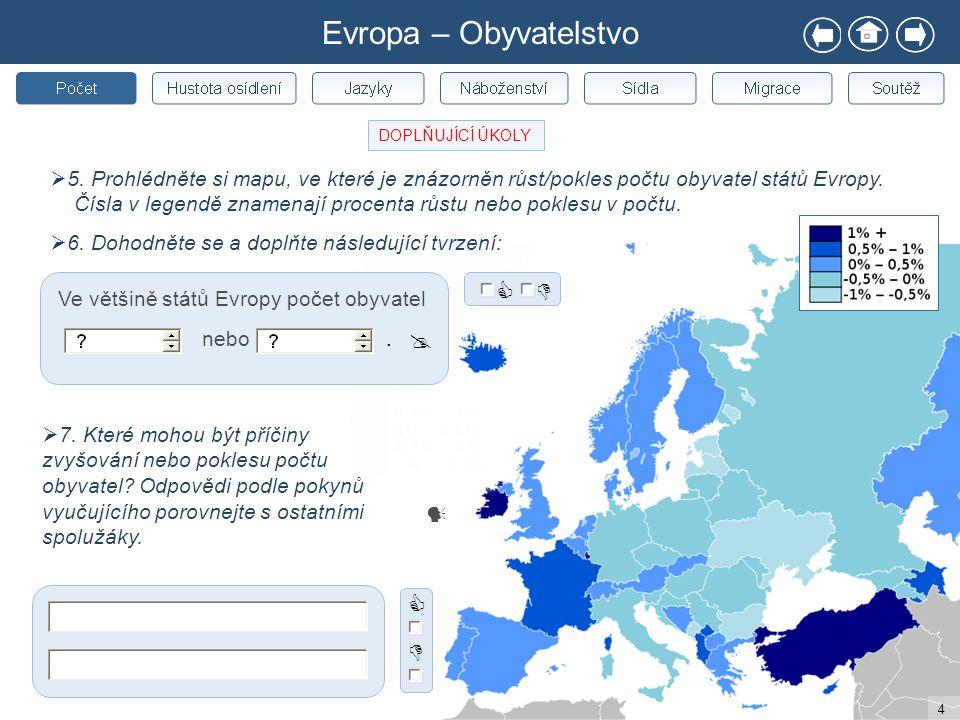 4  5. Prohlédněte si mapu, ve které je znázorněn růst/pokles počtu obyvatel států Evropy. Čísla v legendě znamenají procenta růstu nebo poklesu v poč