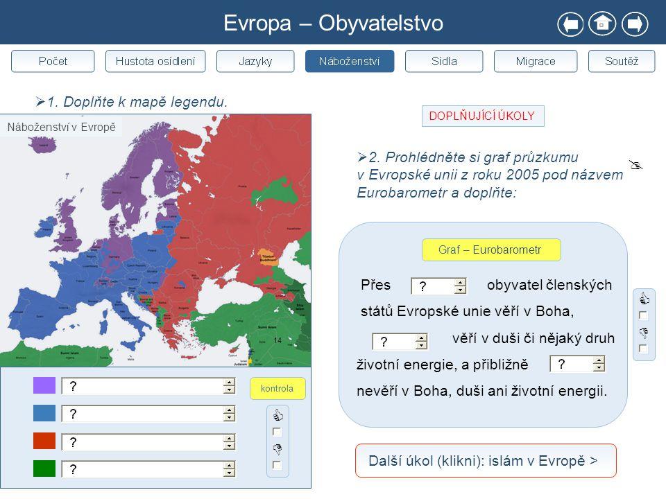 Evropa – Obyvatelstvo  1. Doplňte k mapě legendu. 14   Náboženství v Evropě kontrola  2. Prohlédněte si graf průzkumu v Evropské unii z roku 2005