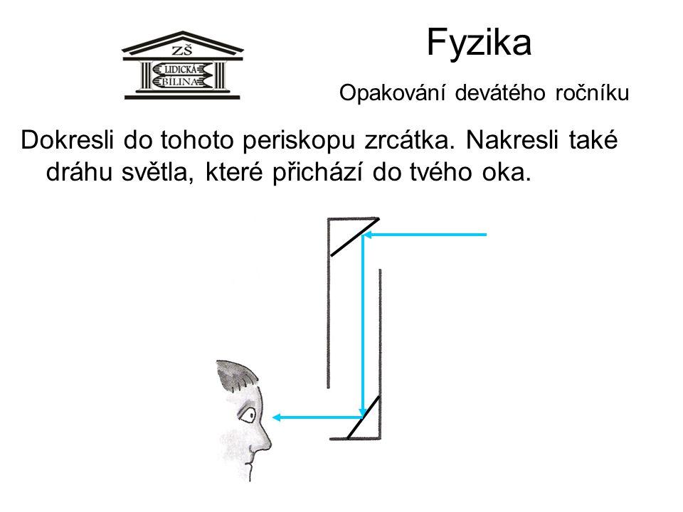 Fyzika Opakování devátého ročníku Dokresli do tohoto periskopu zrcátka. Nakresli také dráhu světla, které přichází do tvého oka.