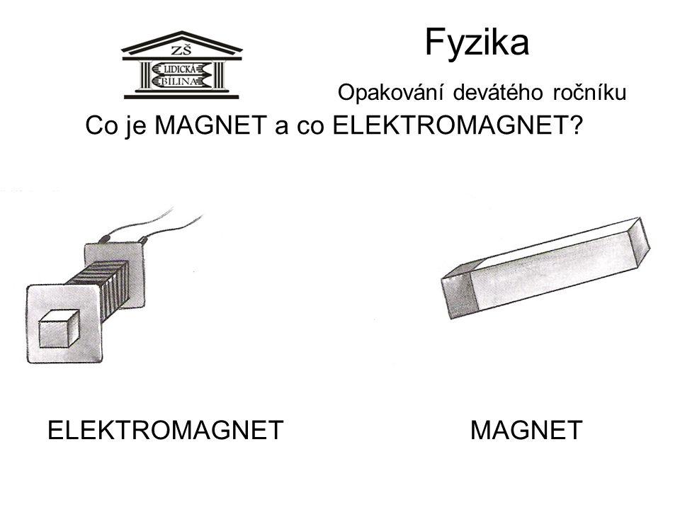 Fyzika Opakování devátého ročníku Co je MAGNET a co ELEKTROMAGNET? ELEKTROMAGNETMAGNET