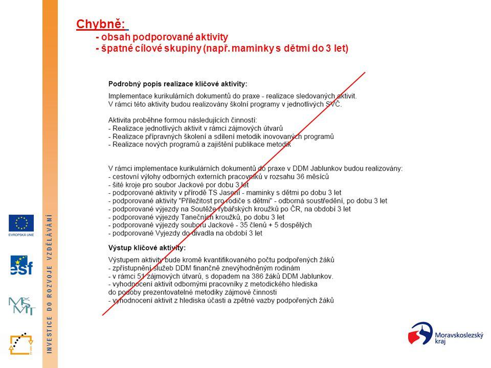 INVESTICE DO ROZVOJE VZDĚLÁVÁNÍ Chybně: - obsah podporované aktivity - špatné cílové skupiny (např.