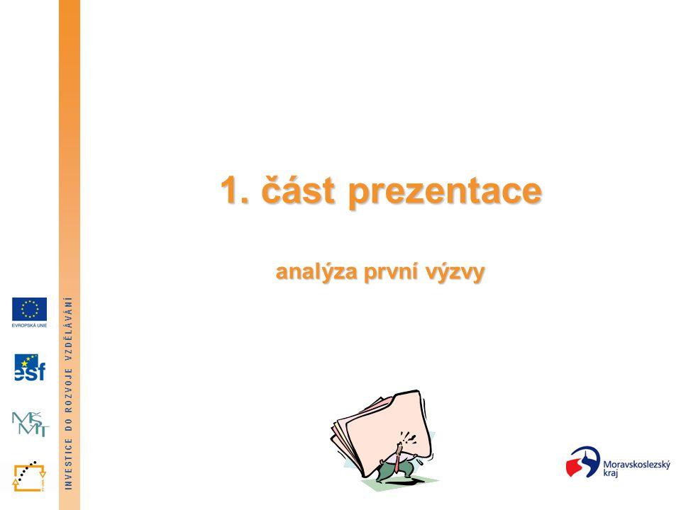 INVESTICE DO ROZVOJE VZDĚLÁVÁNÍ 1. část prezentace analýza první výzvy