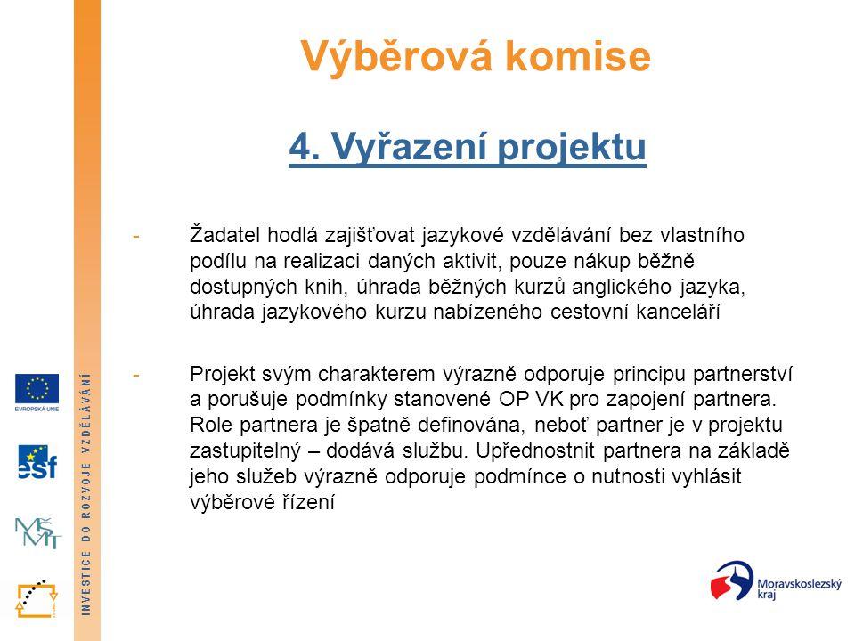 INVESTICE DO ROZVOJE VZDĚLÁVÁNÍ Výběrová komise 4.