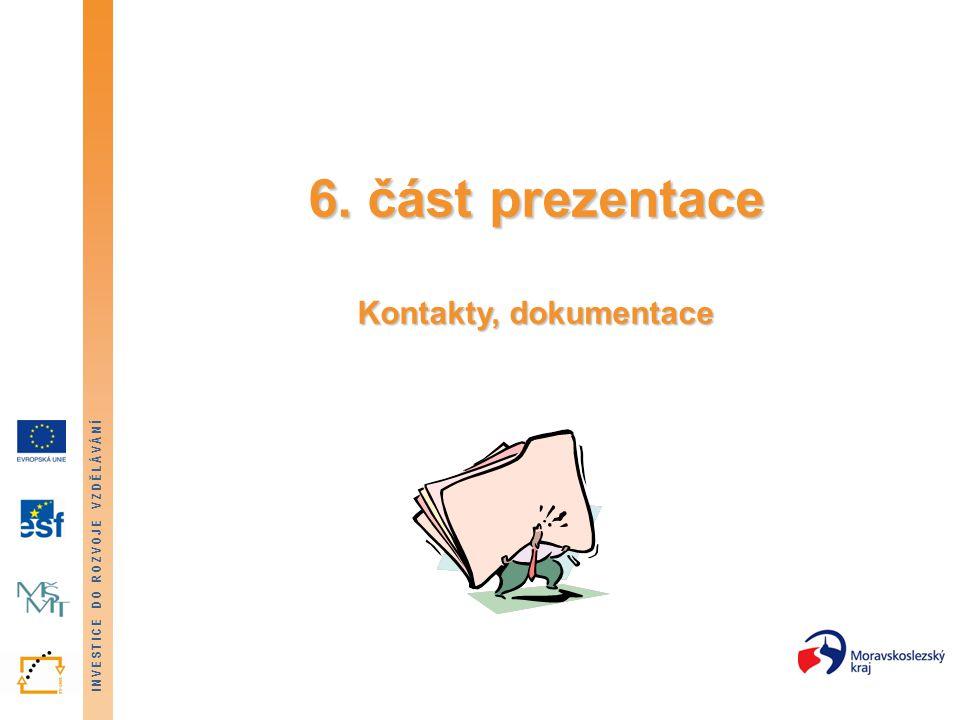INVESTICE DO ROZVOJE VZDĚLÁVÁNÍ 6. část prezentace Kontakty, dokumentace