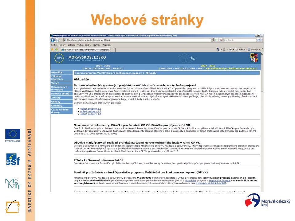 INVESTICE DO ROZVOJE VZDĚLÁVÁNÍ Webové stránky