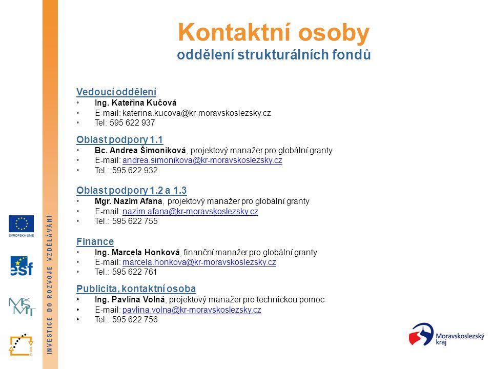 INVESTICE DO ROZVOJE VZDĚLÁVÁNÍ Kontaktní osoby oddělení strukturálních fondů Vedoucí oddělení Ing.
