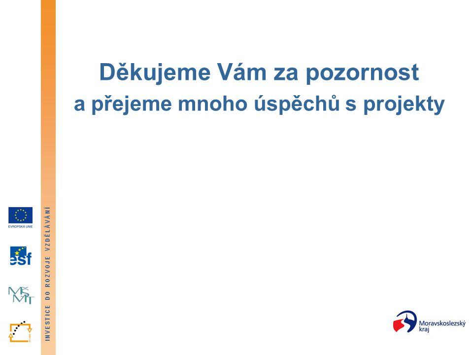 INVESTICE DO ROZVOJE VZDĚLÁVÁNÍ Děkujeme Vám za pozornost a přejeme mnoho úspěchů s projekty