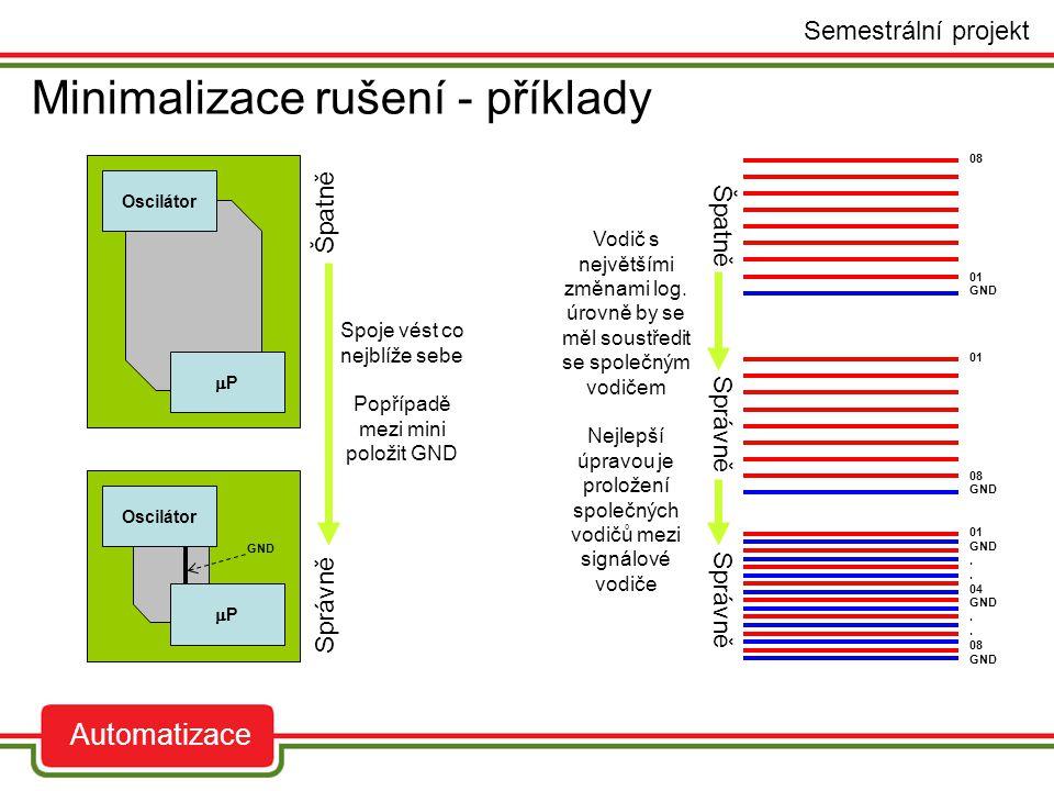 Minimalizace rušení - příklady auto Semestrální projekt Automatizace Oscilátor PP PP 01 08 GND 01 GND. 04 GND. 08 GND 08 01 GND Špatně Správně Špa