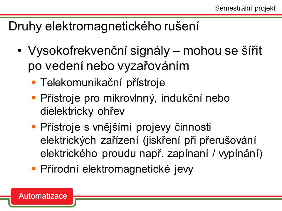 Nízkofrekvenční rušení  Impulzní rušivé signály – krátkodobé, jednorázové, nepravidelně se opakující změny elektrického napětí a proudu (přepěťové a proudové rázy aj.).