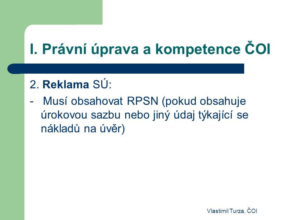 I. Právní úprava a kompetence ČOI 2. Reklama SÚ: - Musí obsahovat RPSN (pokud obsahuje úrokovou sazbu nebo jiný údaj týkající se nákladů na úvěr)