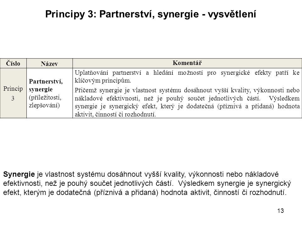 13 Principy 3: Partnerství, synergie - vysvětlení Číslo Název Komentář Princip 3 Partnerství, synergie (příležitosti, zlepšování) Uplatňování partners