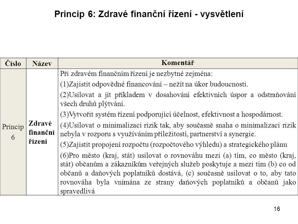 16 Princip 6: Zdravé finanční řízení - vysvětlení Číslo Název Komentář Princip 6 Zdravé finanční řízení Při zdravém finančním řízení je nezbytné zejmé