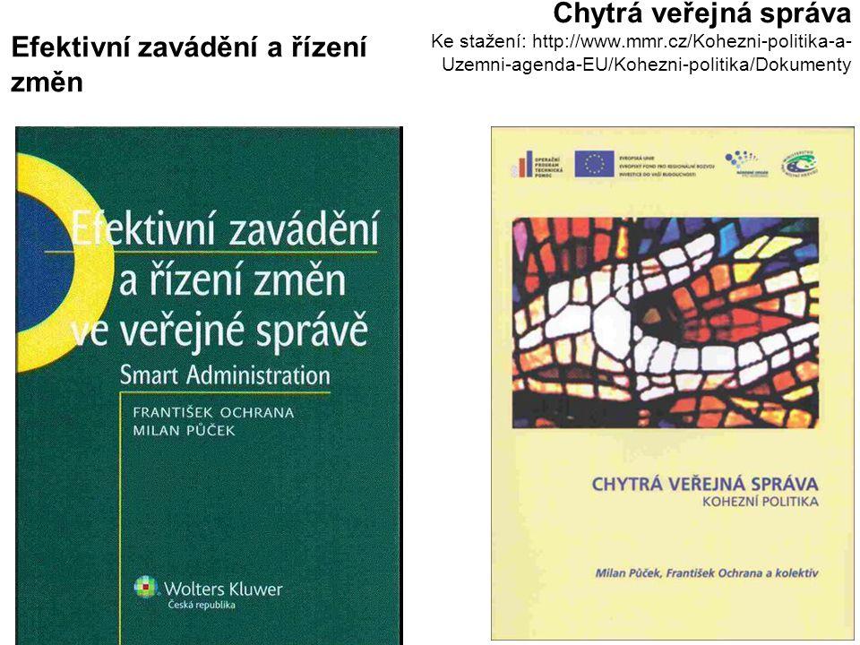 3 Chytrá veřejná správa Ke stažení: http://www.mmr.cz/Kohezni-politika-a- Uzemni-agenda-EU/Kohezni-politika/Dokumenty Efektivní zavádění a řízení změn