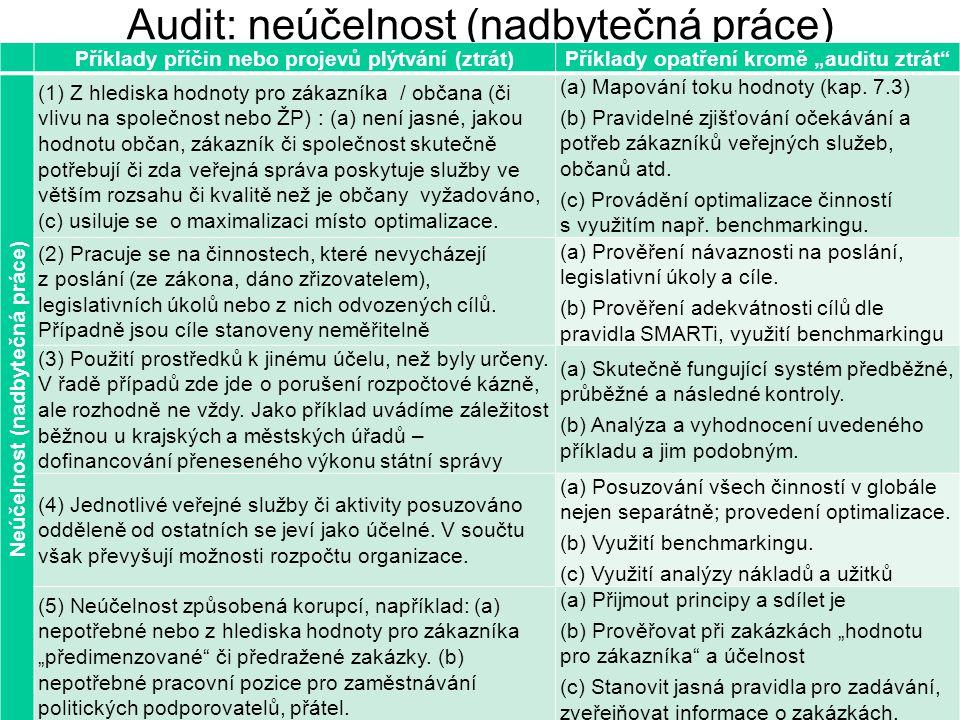"""30 Audit: neúčelnost (nadbytečná práce) Příklady příčin nebo projevů plýtvání (ztrát)Příklady opatření kromě """"auditu ztrát"""" Neúčelnost (nadbytečná prá"""