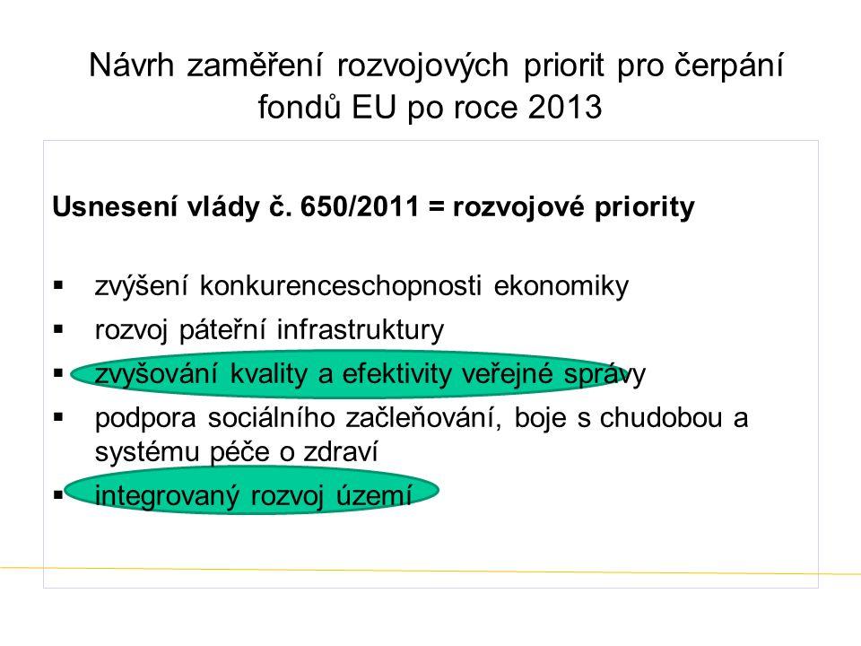 Návrh zaměření rozvojových priorit pro čerpání fondů EU po roce 2013 Usnesení vlády č. 650/2011 = rozvojové priority  zvýšení konkurenceschopnosti ek