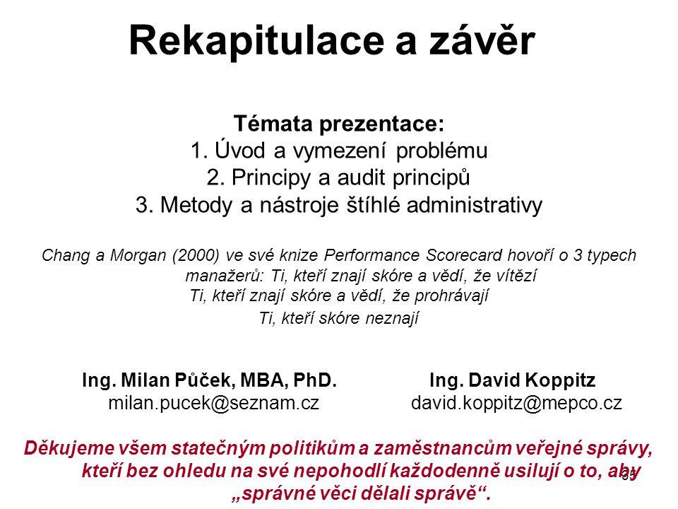 35 Rekapitulace a závěr Témata prezentace: 1. Úvod a vymezení problému 2. Principy a audit principů 3. Metody a nástroje štíhlé administrativy Chang a