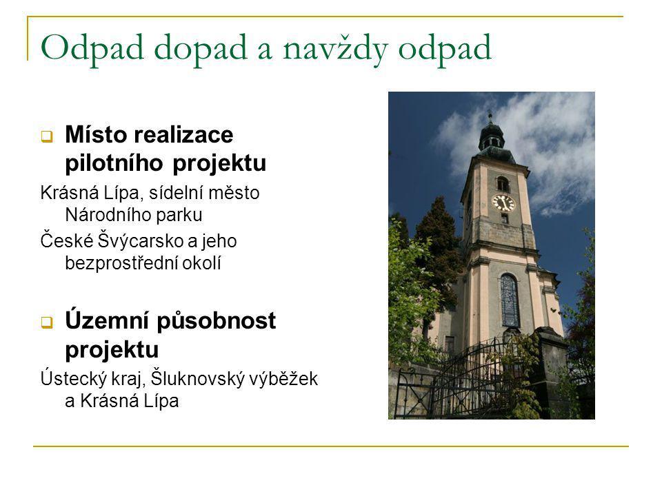 Odpad dopad a navždy odpad  Místo realizace pilotního projektu Krásná Lípa, sídelní město Národního parku České Švýcarsko a jeho bezprostřední okolí