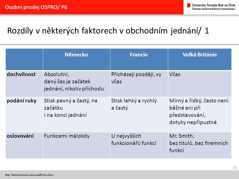 33 Mgr. Pavla Kotyzová, kotyzova@fmk.utb.cz Rozdíly v některých faktorech v obchodním jednání/ 1 Osobní prodej OSPRO/ P6 NěmeckoFrancieVelká Británie
