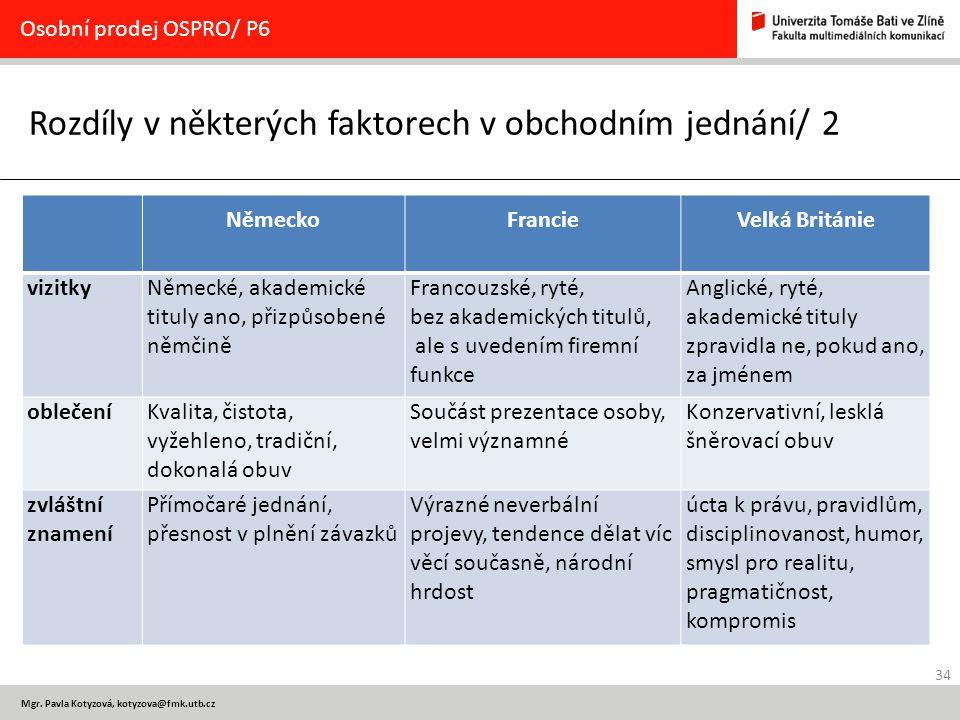 34 Mgr. Pavla Kotyzová, kotyzova@fmk.utb.cz Rozdíly v některých faktorech v obchodním jednání/ 2 Osobní prodej OSPRO/ P6 NěmeckoFrancieVelká Británie