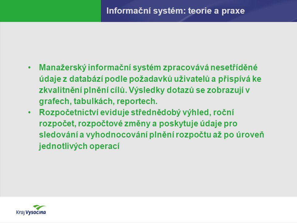 Informační systém: teorie a praxe Manažerský informační systém zpracovává nesetříděné údaje z databází podle požadavků uživatelů a přispívá ke zkvalit