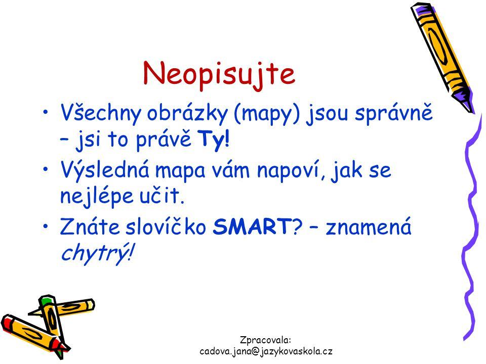 Zpracovala: cadova.jana@jazykovaskola.cz Neopisujte Všechny obrázky (mapy) jsou správně – jsi to právě Ty! Výsledná mapa vám napoví, jak se nejlépe uč