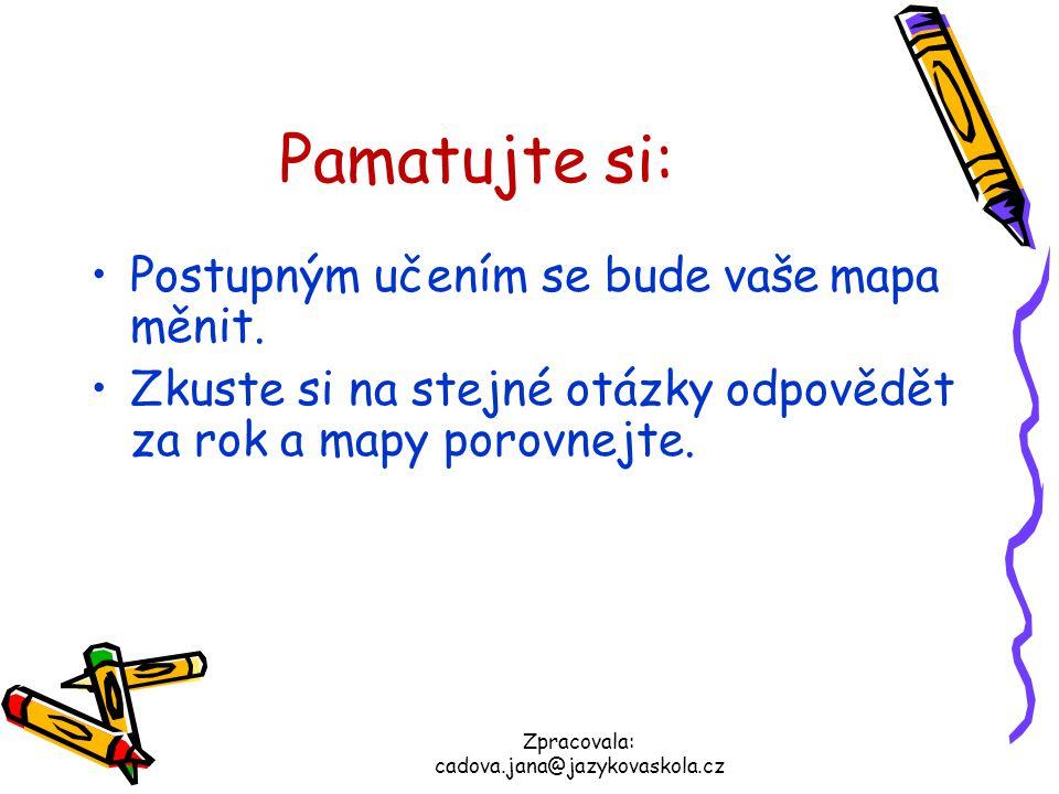 Zpracovala: cadova.jana@jazykovaskola.cz Pamatujte si: Postupným učením se bude vaše mapa měnit. Zkuste si na stejné otázky odpovědět za rok a mapy po