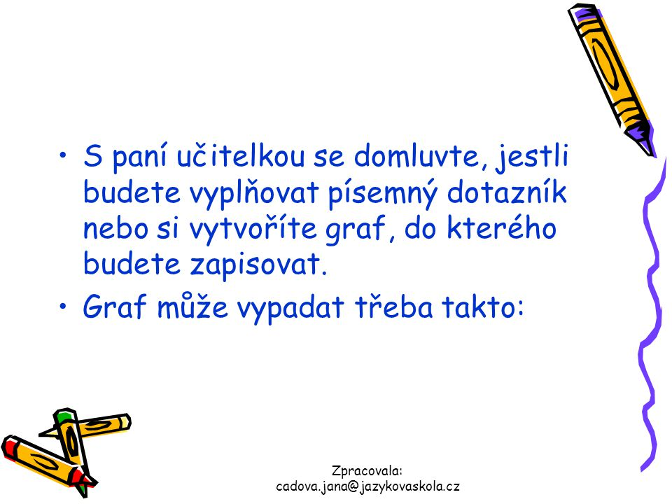Zpracovala: cadova.jana@jazykovaskola.cz S paní učitelkou se domluvte, jestli budete vyplňovat písemný dotazník nebo si vytvoříte graf, do kterého bud
