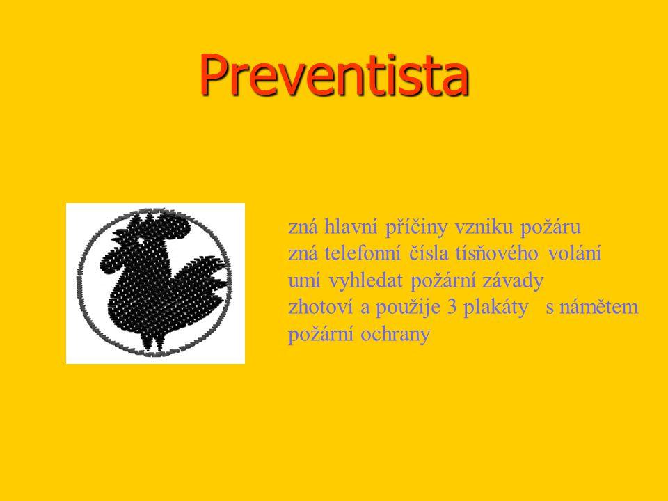 Preventista zná hlavní příčiny vzniku požáru zná telefonní čísla tísňového volání umí vyhledat požární závady zhotoví a použije 3 plakáty s námětem po