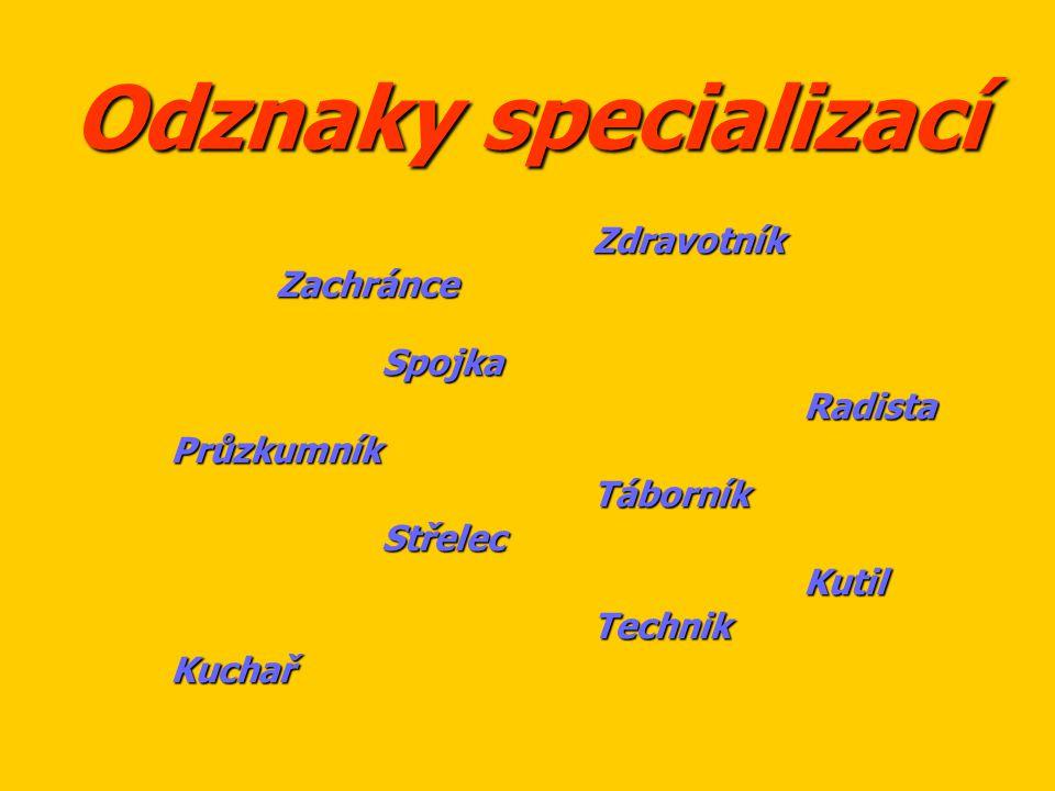 Odznaky specializací ZdravotníkZachránceSpojkaRadistaPrůzkumníkTáborníkStřelecKutilTechnikKuchař