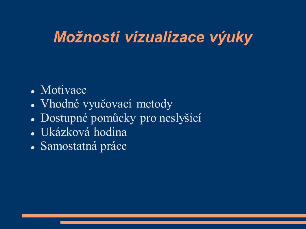 Možnosti vizualizace výuky Motivace Vhodné vyučovací metody Dostupné pomůcky pro neslyšící Ukázková hodina Samostatná práce