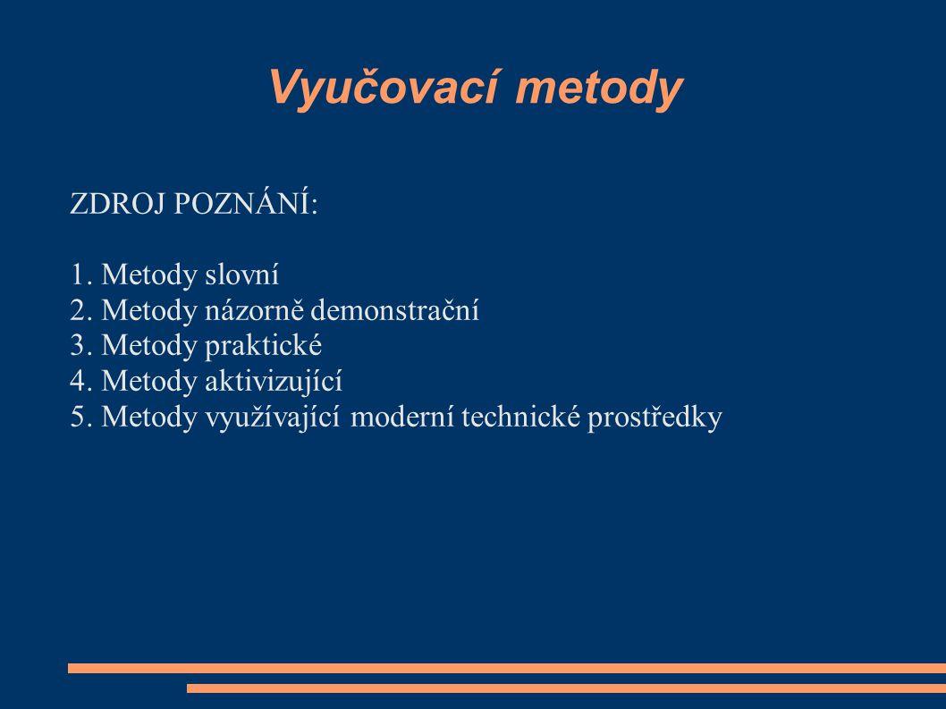 Vyučovací metody ZDROJ POZNÁNÍ: 1. Metody slovní 2. Metody názorně demonstrační 3. Metody praktické 4. Metody aktivizující 5. Metody využívající moder