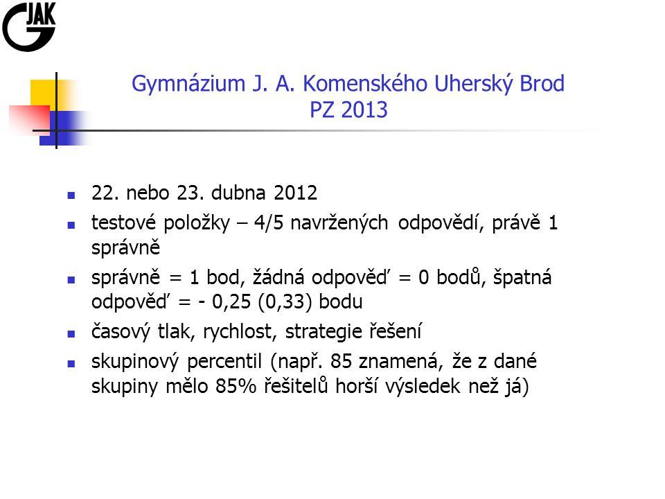 Gymnázium J. A. Komenského Uherský Brod PZ 2013 22. nebo 23. dubna 2012 testové položky – 4/5 navržených odpovědí, právě 1 správně správně = 1 bod, žá