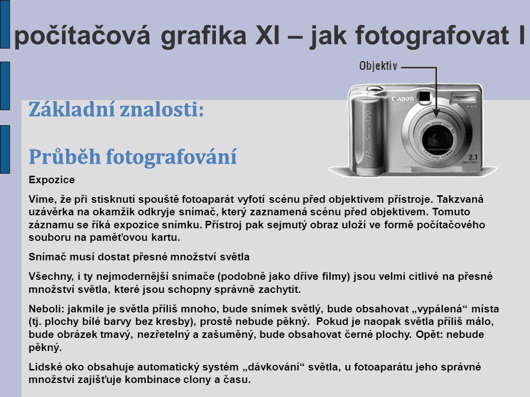 Základní znalosti: Průběh fotografování počítačová grafika XI – jak fotografovat I Základní znalosti: Průběh fotografování Expozice Víme, že při stisk