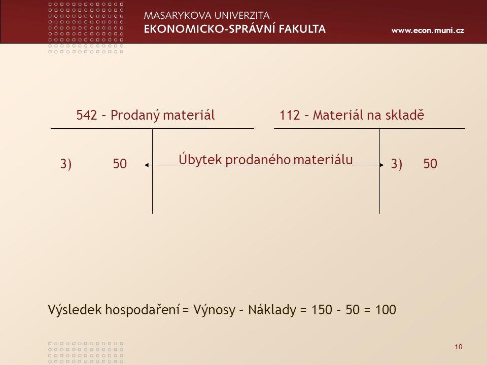 www.econ.muni.cz 10 3) 50 542 – Prodaný materiál 112 – Materiál na skladě Úbytek prodaného materiálu Výsledek hospodaření = Výnosy – Náklady = 150 – 50 = 100