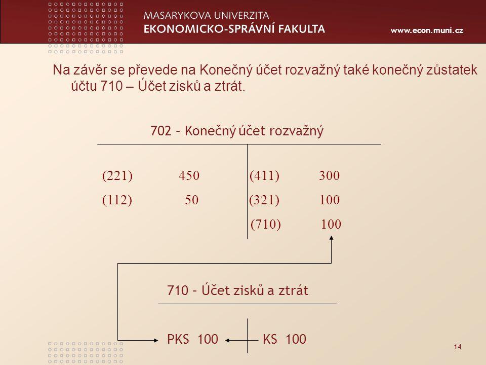 www.econ.muni.cz 14 Na závěr se převede na Konečný účet rozvažný také konečný zůstatek účtu 710 – Účet zisků a ztrát.