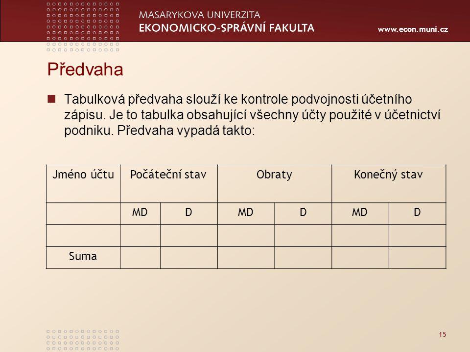 www.econ.muni.cz Předvaha Tabulková předvaha slouží ke kontrole podvojnosti účetního zápisu.