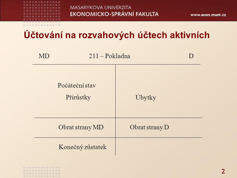 www.econ.muni.cz Účtování na rozvahových účtech aktivních 2 MD 211 – Pokladna D Počáteční stav Přírůstky Úbytky Obrat strany MD Obrat strany D Konečný zůstatek