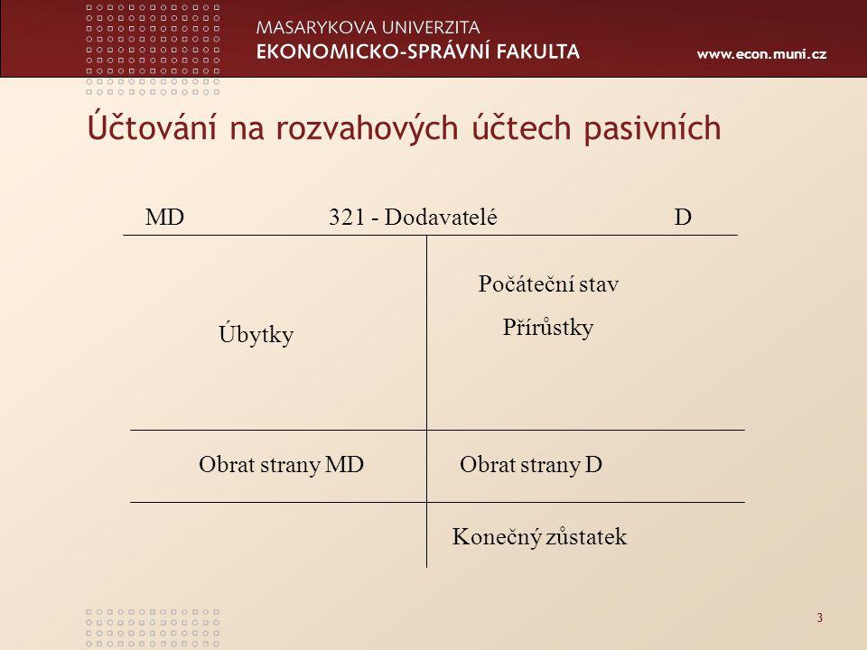 www.econ.muni.cz Účtování na rozvahových účtech pasivních 3 MD 321 - Dodavatelé D Počáteční stav Přírůstky Úbytky Obrat strany MD Obrat strany D Konečný zůstatek